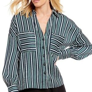 NWT! Free People Mad About You Striped Shirt Navy